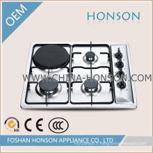 De Bonne Qualité plaque de cuisson au gaz à 4 brûleurs avec plaque chauffante électrique