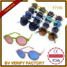 2015 colorido redondo com óculos de sol baratos preço UV400 (F7100)