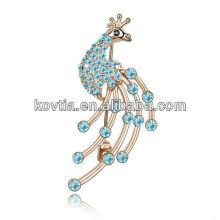 Handmade acessórios mulheres broche grande pavão forma cristal rhinestone broche