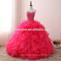 Rosa elegante rojo diseños con cuentas vestido de bola vestidos de novia nupcial hombro escote corazón puffy vestido de novia 2017