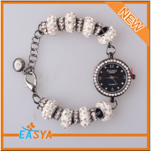 2014 New Design Rhinestone Beads Chain Bracelet With Watch Charms