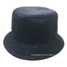 Custom Logo Cool Blank Cypress Hill Mens Black Leather Bucket Hat