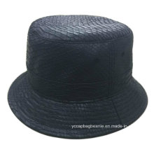 Chapéu de cubeta de couro preto em branco dos homens de colina de Cypress em branco logotipo personalizado