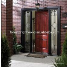 Porta de madeira cinzelada exterior da porta do jardim da entrada da madeira maciça da cereja
