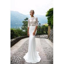 3/4 de manga de renda de cetim sereia vestido de noiva vestido de noiva noite
