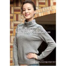 Jersey de invierno de cuello alto de mujer de la manera / jersey mezclado de la cachemira