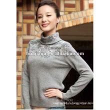 Мода женщин водолазка зимний свитер/ Смесовой кашемир пуловер