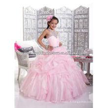 Vente chaude frais d'expédition gratuits appliqués robe de bal rose robe faite sur mesure robes de fille de fleur CWFaf4546