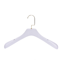 Fashion Store Display Custom LOGO Premium Quality White Coat Hangers with Gold Hook and Notches