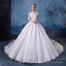 Vestido de boda de las mujeres del vestido de bola de la vendimia con la cola