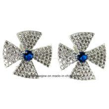 Especial de diseño y moda femenina Pendientes Rhinestone Gris Cristal Resina Negro Metal dulce con gemas Ear Stud Earrings para las mujeres Chicas E6310