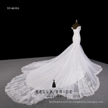 Vestido de noiva de renda sem alças de renda sem alças com trem de catedral