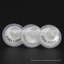 25mm Filtros de seringa PTFE PP hidrófilo PP 0.22um Tamanho do poro para uso em injeção