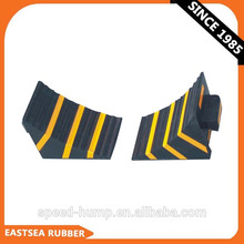 Cale de roue de camion de caoutchouc portable noir et jaune de grande qualité