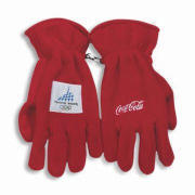 Gloves, Made of Fleece, Fabric Patch Logo Design