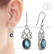 Woman beauty labradorite silver earring gemstone jewelry 925 sterling silver wholesale jewellery suppliers
