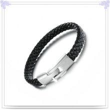 Regalos de moda pulsera de cuero de joyería de acero inoxidable (LB111)