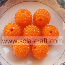Orange Color Fluorescent Chunky Resin Rhinestone Beads 18*20MM