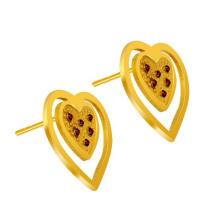 Coração Stud Brincos Mulheres Acessórios De Moda De Ouro 18k