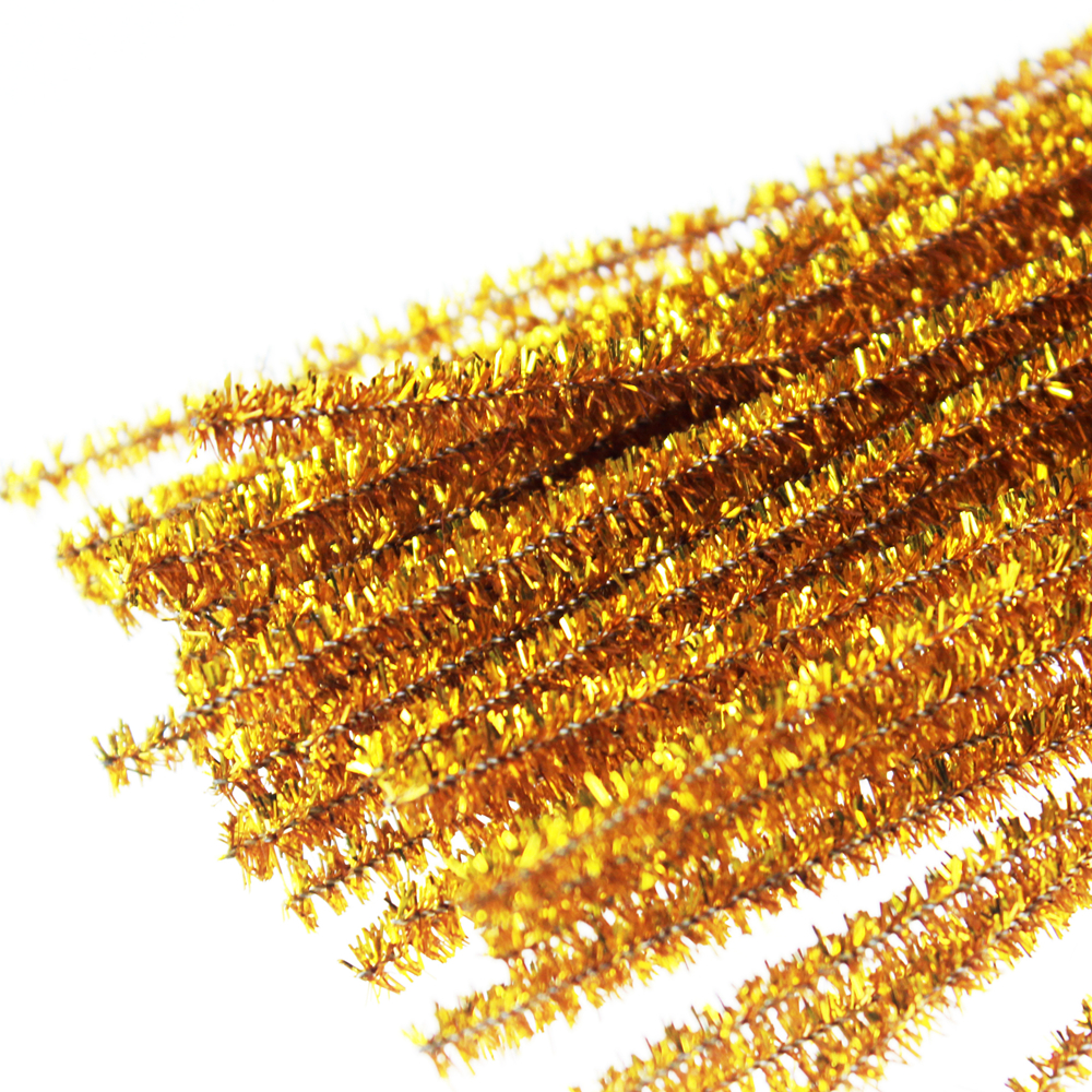 Golden PVC glitter chenille stem,chritmas decoration