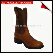 Botas de cuero cuadradas dedo del pie vaca
