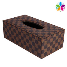Fashion Grid Leather Rectangle Tissue Box (ZJH056)