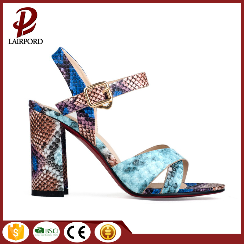 10cm leather serpentine print thick heel sandals