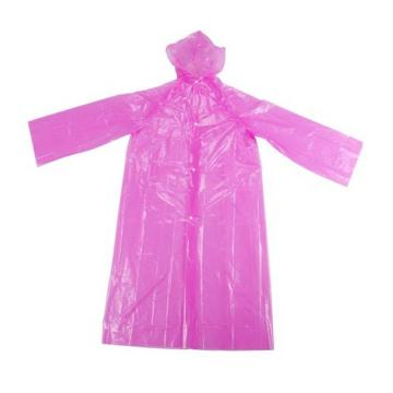 Pink Disposable Raincoat with Sleeves