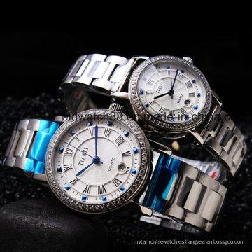Relojes de pulsera de metal de acero inoxidable de calidad para hombres y damas