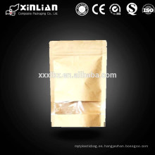 Bolsa de papel kraft blanco / ziplock stand up bolsa de papel kraft