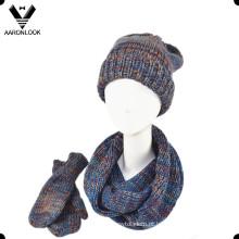 Moda inverno 3PC malha cachecol chapéu luva set