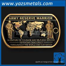 personalize etiquetas de cachorro de metal, etiqueta de cão de reserva de exército dos EUA de alta qualidade personalizada