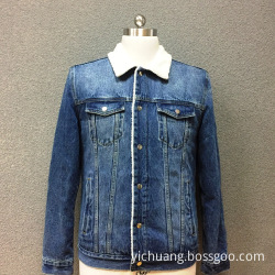 Men's cotton denim double pocket padded jacket
