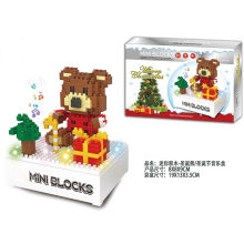 X′mas Bear Blocks christmas Toy Flash Music Box