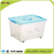 Grande boîte de rangement en plastique transparent avec couvercle