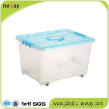 Caixa de armazenamento de plástico transparente grande com tampa
