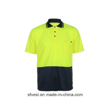 Hohe Sichtbarkeit Kurzarm Arbeit Reflektierende Sicherheit Polo T-Shirt