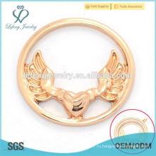 Стильный 22мм розового золота цинкового сплава античный орел плавающего стекла очарование медальон окна пластин ювелирных изделий