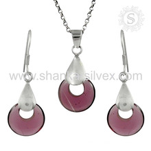 Потрясающие стекла драгоценных камней серебряный комплект ювелирных изделий 925 стерлингового серебра ювелирные изделия оптом ювелирные изделия