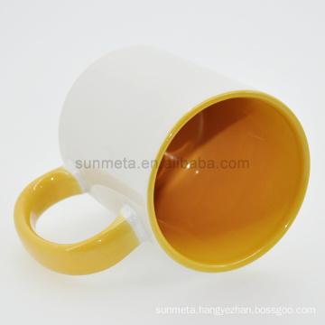 Sunmeta 11oz sublimation inner & handle color mug yellow