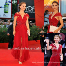 Bright Red Off The Shoulder Sheath Rhinestone V Neck Ankle Length Celebrity Dress Evening Gown