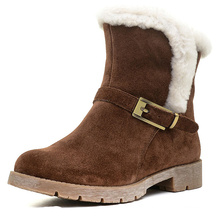 new model half flat design for women cow suede snow boot