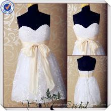JJ3562 Saia de renda Peel Corpete Comprimento do joelho sexy curto mini vestido de casamento branco Curto