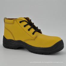 Zapatos de trabajo de seguridad de cuero amarillo mujeres Ufb057