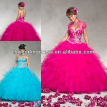 HQ2050 Bright cerise beaded crystal pearl pattern bolero layers tulle ball gown lace up back quinceanera dresses with ruffles
