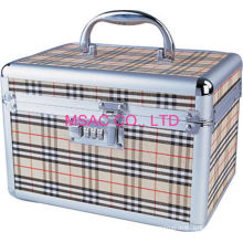 Beige Aluminum Cosmetic Cases / Abs Tool Cases For Carry Cosmetic Tool
