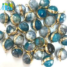 Faced Beads Agate Double Connector Charms For Making Bracelet Pendant Jewelry