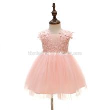 Младенец девочка розовый цветок кружева паффи бал-маскарад партии одежда платья повседневная шифон флаттер колена платье малыша девушка платье