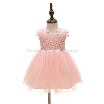 Infantile fille fleur rose dentelle bouffée mascarade partie usure robes en mousseline de soie flutter genou robe enfant en bas âge robe de soirée