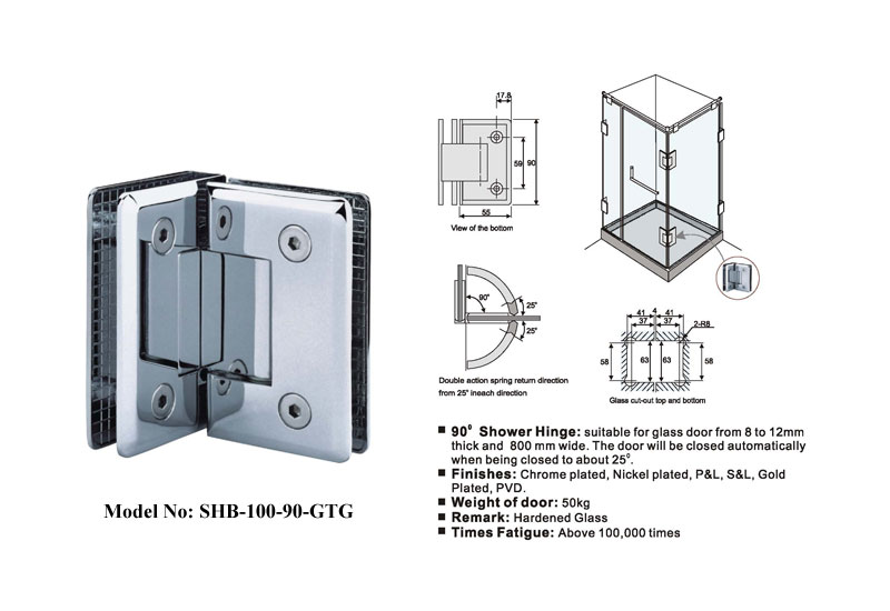 Glass To Glass Door Hinges 90 Degree B